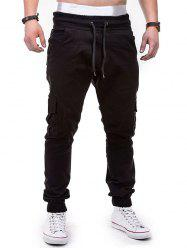 Drawstring Design Cuffed Solid Color Cargo Pants -