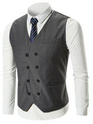 Classic Belt Design Double Breasted Waistcoat -