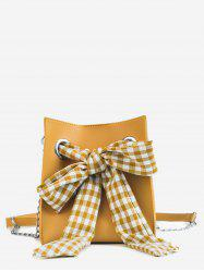 Bucket Leisure Checkered Bow 2 Pieces Crossbody Bag Set -