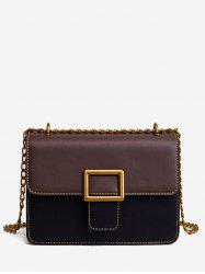 Chic Color Block Buckled Flap Stitching Crossbody Bag -