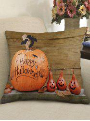 Halloween Star Pumpkin Wooden Print Pillowcase -
