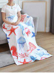 Jellyfish Seahorse Starfish Print Flannel Soft Bed Blanket -