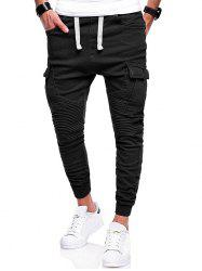 Pleated Elastic Cuffed Drawstring Casual Cargo Pants -