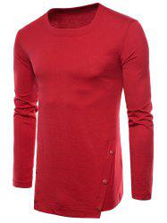 Irregular Hem Six-button Tee Shirt -