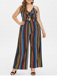 Plus Size Striped Front Knotted Jumpsuit -