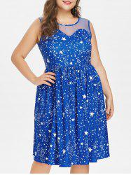 Plus Size Star Print Mesh Yoke Dress -