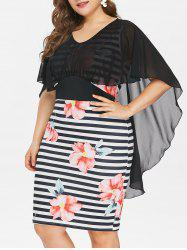 Plus Size High Low Caplet Bodycon Dress -
