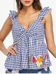 Embroidered Gingham Sleeveless Blouse -