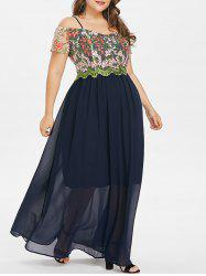 Plus Size Mesh Embroidered Maxi Dress -