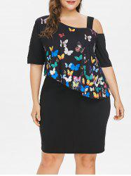 Plus Size Cold Shoulder Butterfly Overlay Dress -