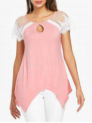 Cut Out Lace Panel Handkerchief Tee -