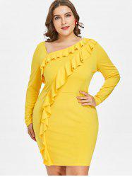 Plus Size Ruffled Bodycon Dress -
