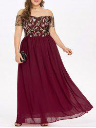 Rosegal Off The Shoulder Plus Size Embroidery Maxi Dress -