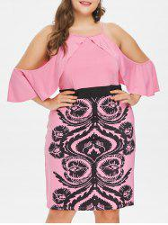 Plus Size Cold Shoulder Fluttery Sleeve Dress -