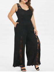 Plus Size Lace Insert Wide Leg Jumpsuit -