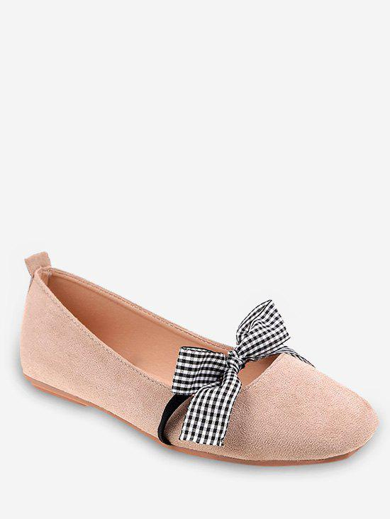 Affordable Plaid Bow Embellished Casual Ballet Flats