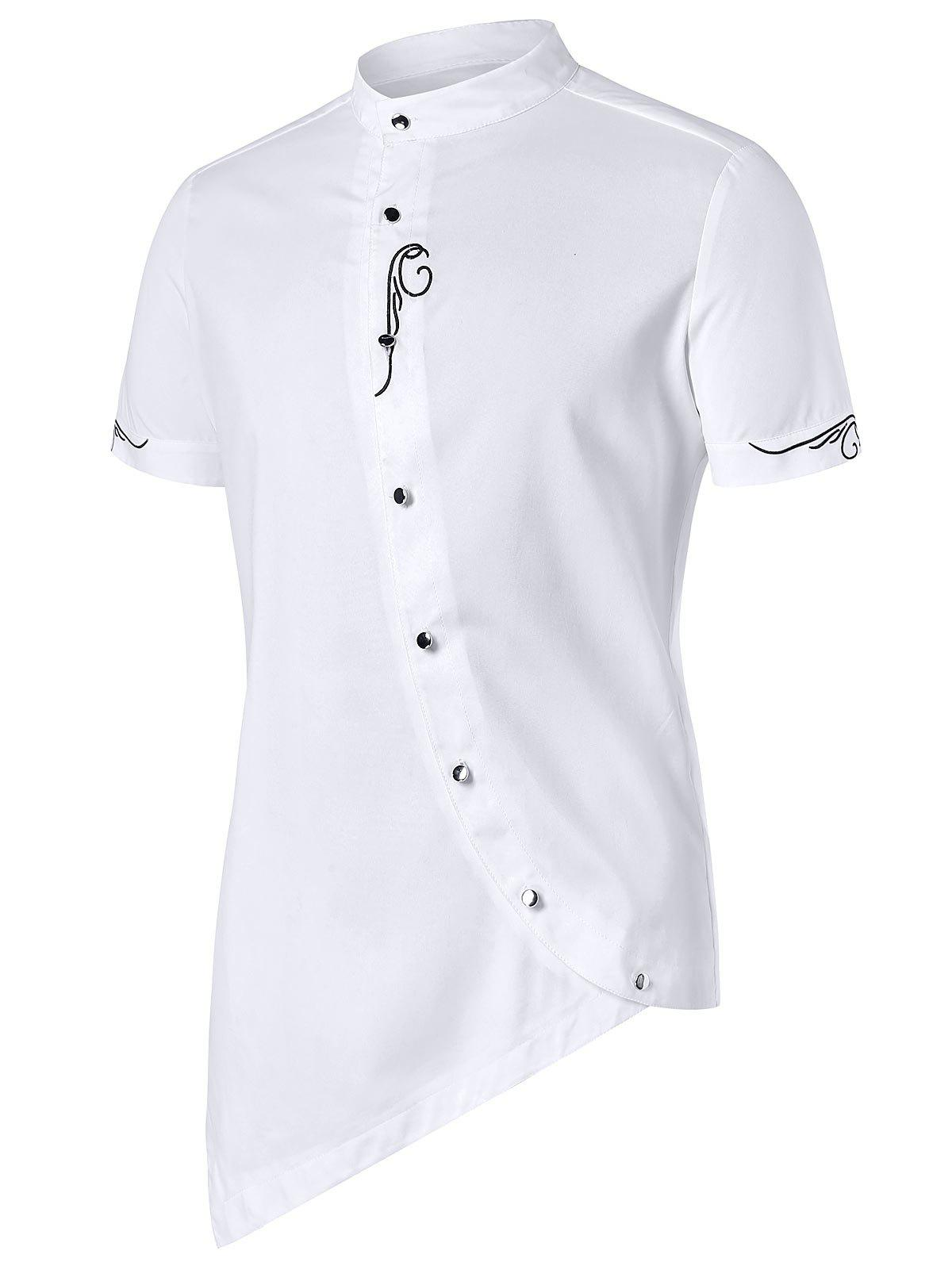 Affordable Asymmetric Stand Collar Embroidery Shirt