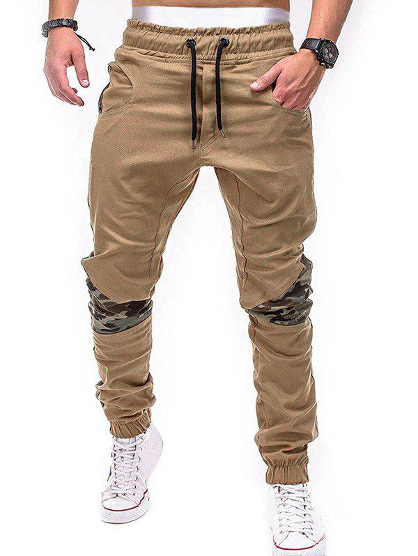 Outfit Drawstring Elastic Waistband Camouflage Patchwork Jogger Pants
