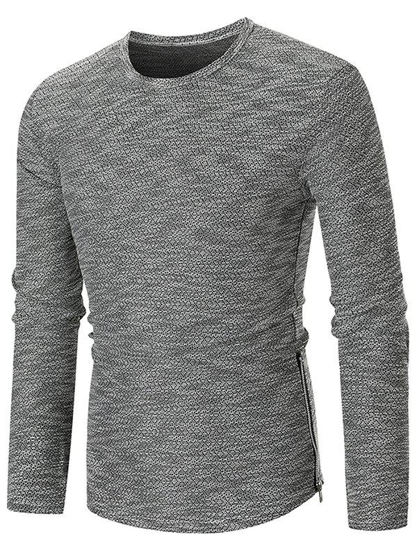 Affordable Hem Zipper Curved Long Sleeve Tee