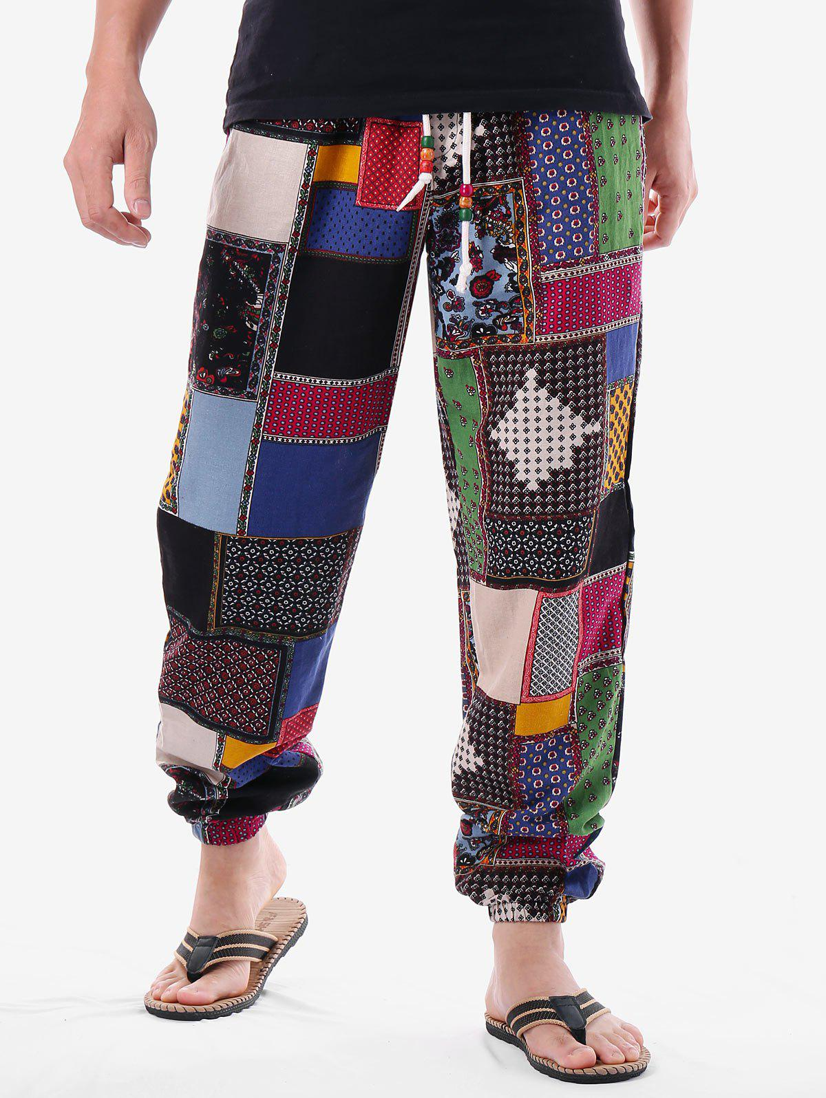 Latest Ethnic Print Drawstring Waistband Pants