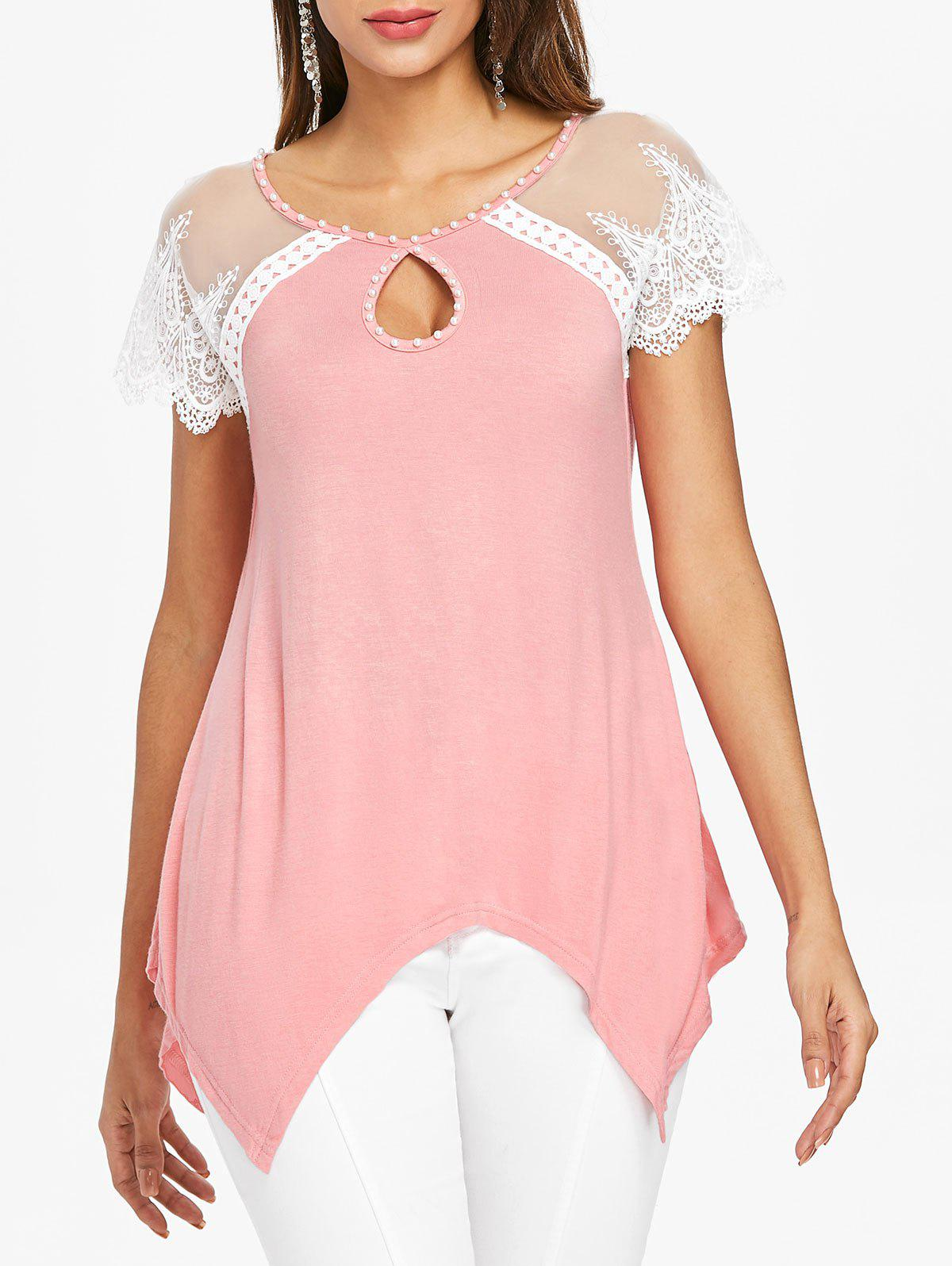 Buy Cut Out Lace Panel Handkerchief Tee