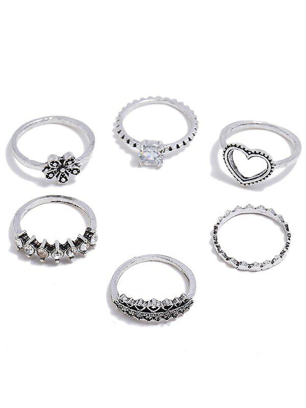 Fashion Heart Shape Flower Rhinestone Decoration Rings Set
