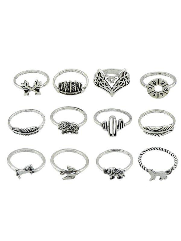 Trendy Animal Pattern Alloy Rings Set