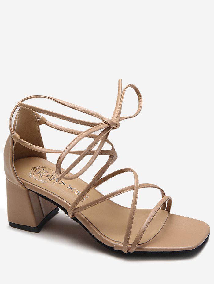 Shop Cross Strap Ankle Strap Chic Block Heel Sandals
