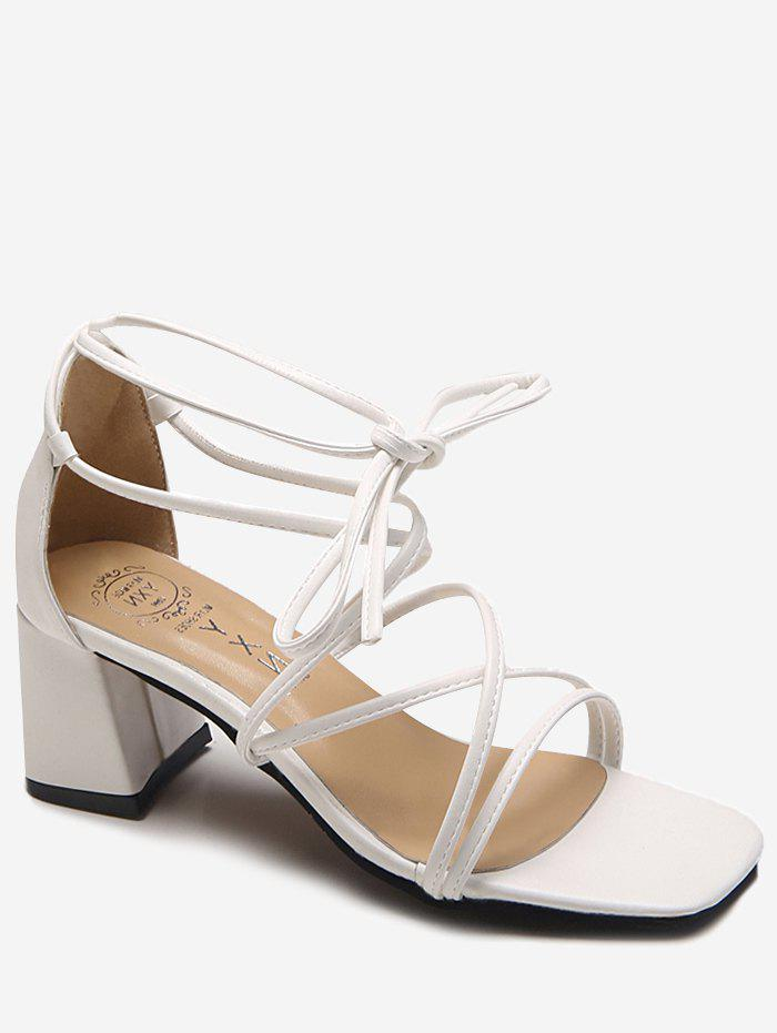 New Cross Strap Ankle Strap Chic Block Heel Sandals
