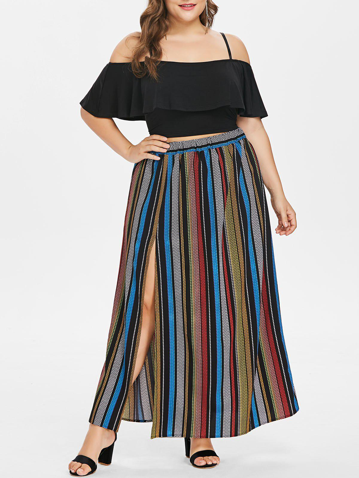 Cheap Plus Size Flounce Insert Crop Top and Striped Maxi Skirt