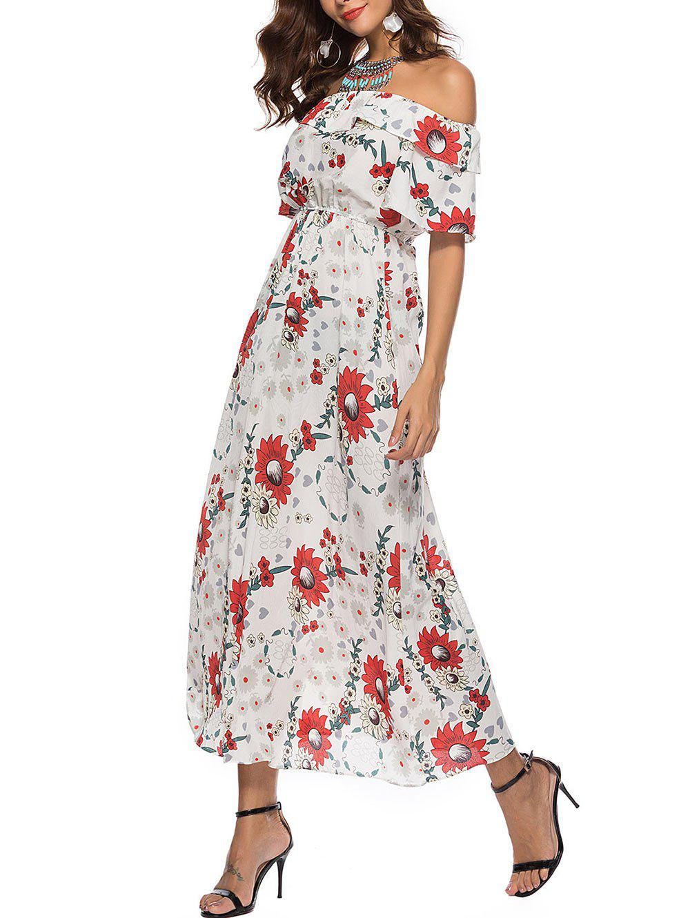 Chic Floral Print Off The Shoulder Maxi Dress