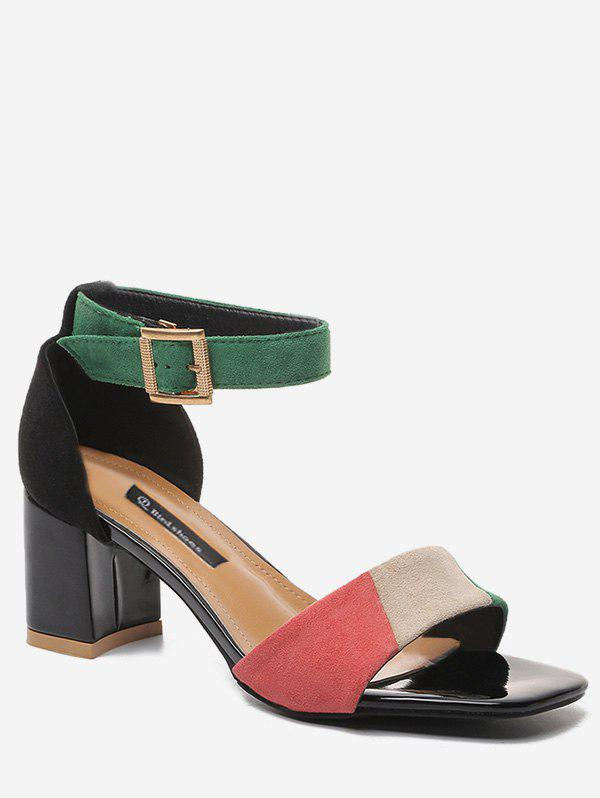 Shop Block Heel Color Block Ankle Strap Prom Sandals