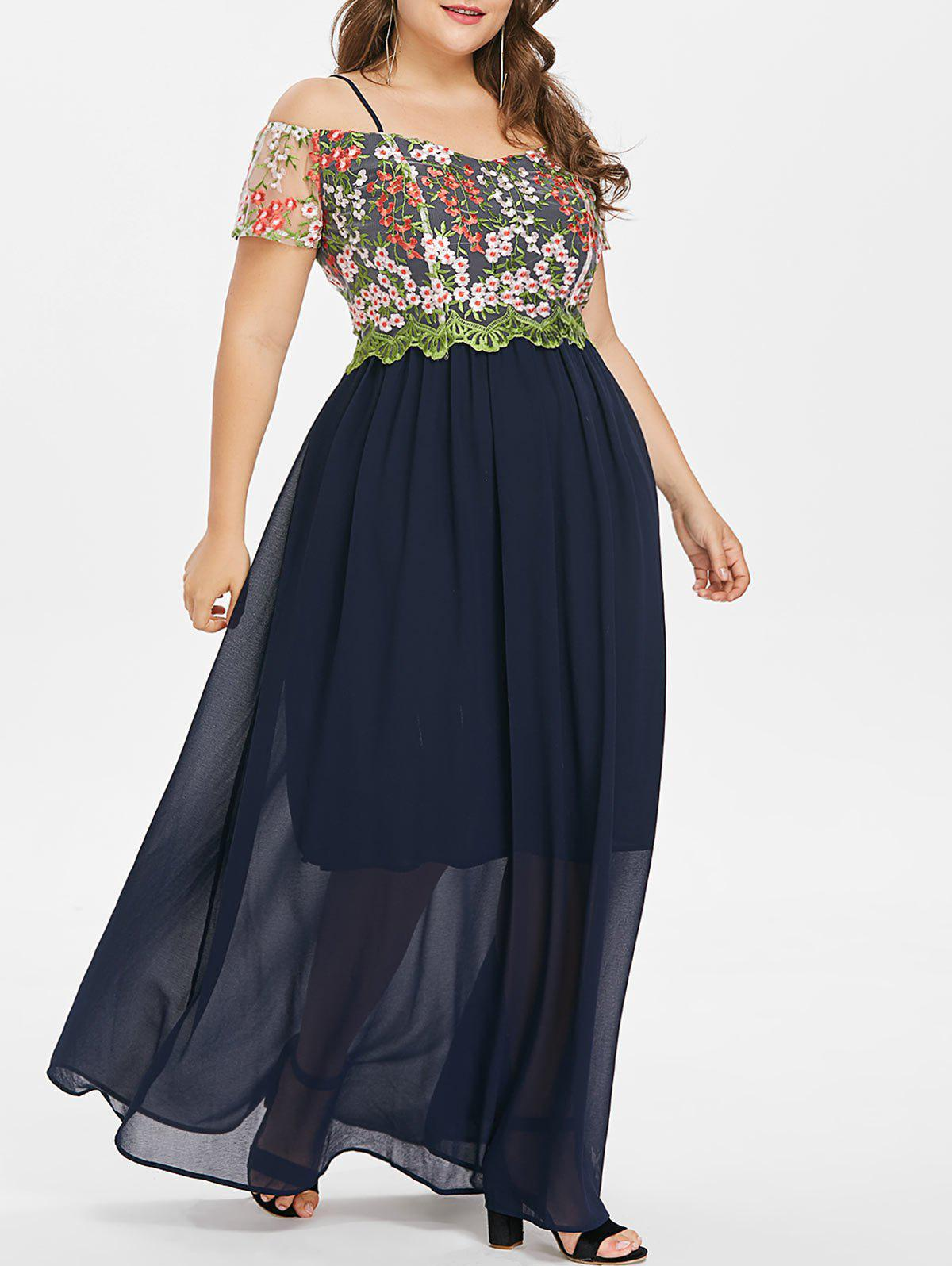 Hot Plus Size Mesh Embroidered Maxi Dress