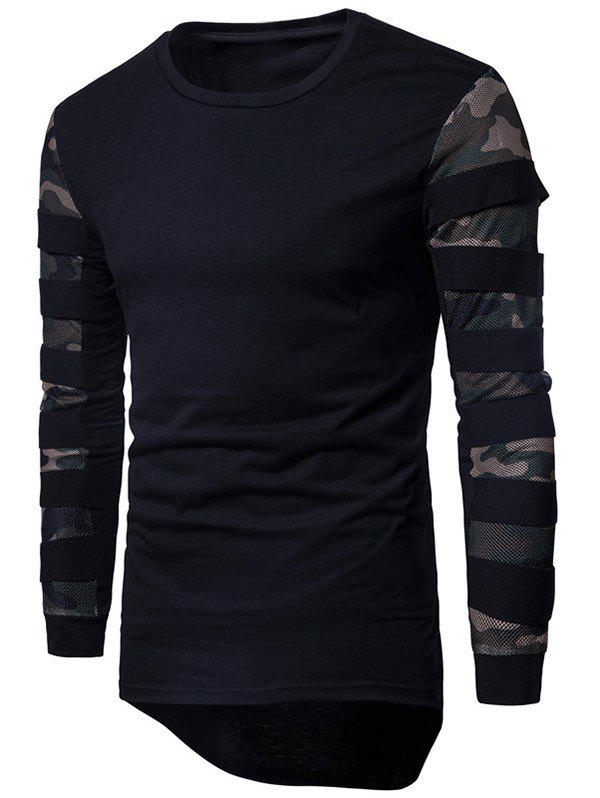 Shops Camouflage Mesh Cloth Splicing Long Sleeve Tee