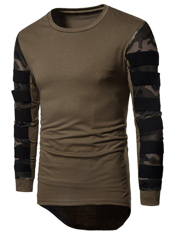 Fancy Camouflage Mesh Cloth Splicing Long Sleeve Tee