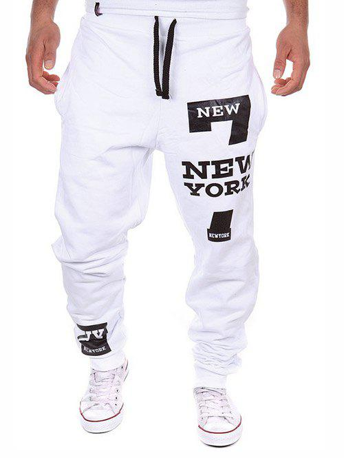 Store Number Letter Print Pocket Jogger Pants