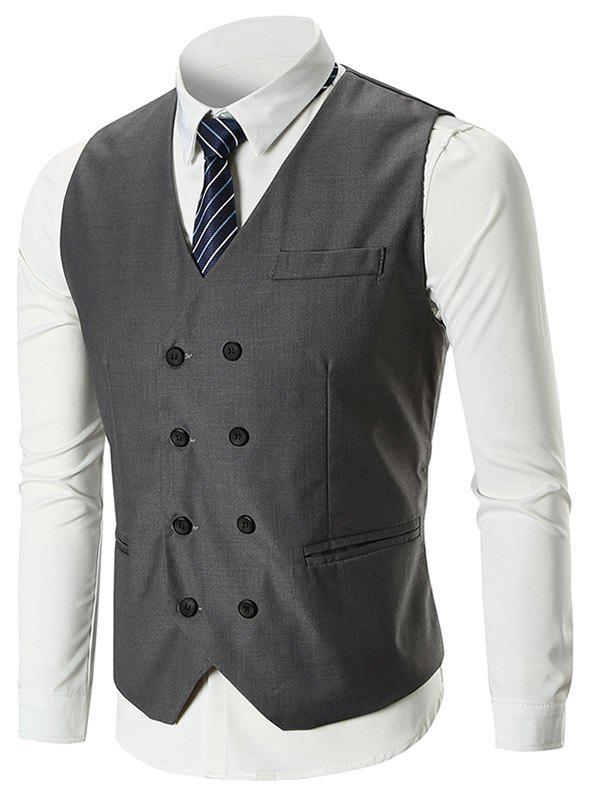 Fancy Classic Belt Design Double Breasted Waistcoat
