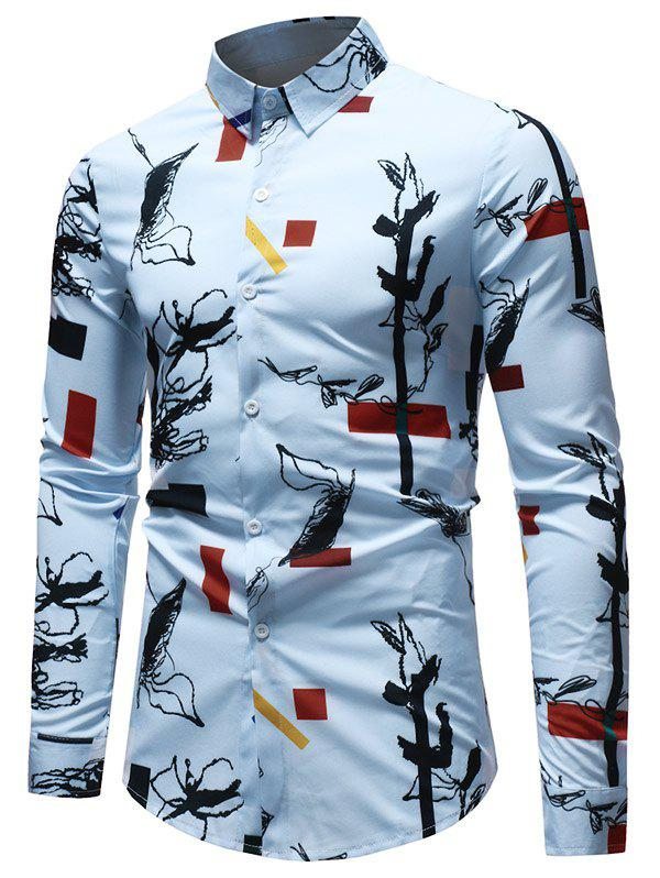 Trendy Long Sleeve Geometrical Ink Painting Print Shirt