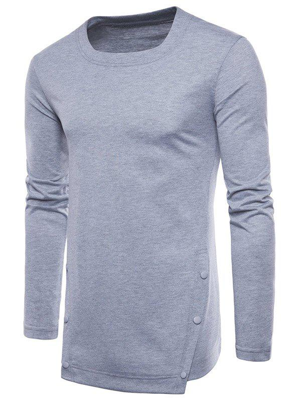 Cheap Irregular Hem Six-button Tee Shirt