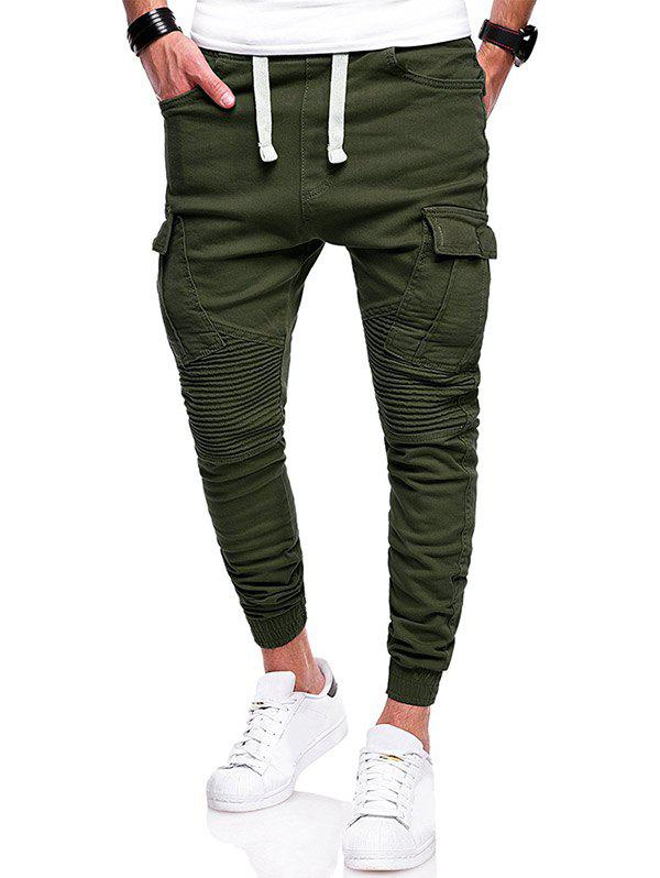 Fancy Pleated Elastic Cuffed Drawstring Casual Cargo Pants