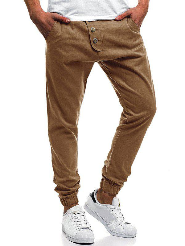 Outfit Button Decor Elastic Cuffed Jogger Pants