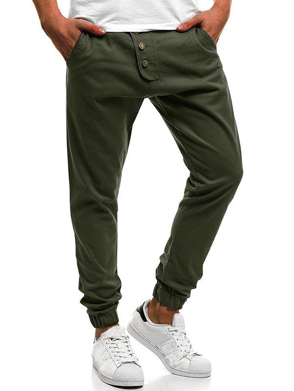 Best Button Decor Elastic Cuffed Jogger Pants
