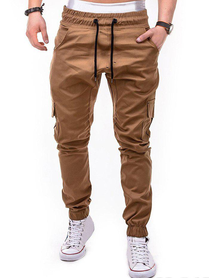 Affordable Drawstring Design Cuffed Solid Color Cargo Pants