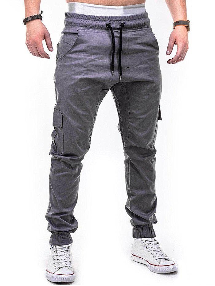 Buy Drawstring Design Cuffed Solid Color Cargo Pants