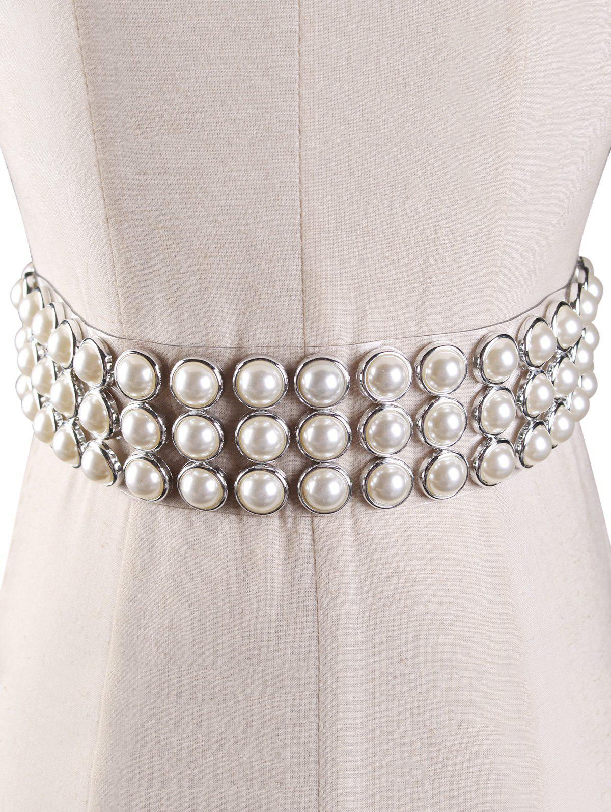 Outfit Unique Faux Pearl PVC Jelly Waist Belt