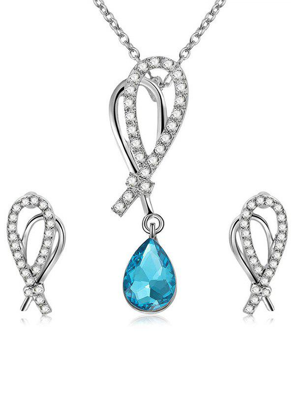 Store Rhinestone Inldai Water Drop Crystal Necklace and Earrings Set