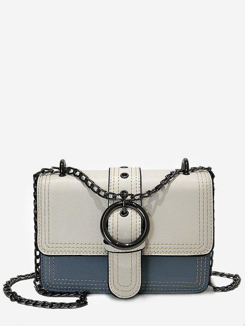 Trendy Contrasting Color Chain Flapped Buckled Crossbody Bag