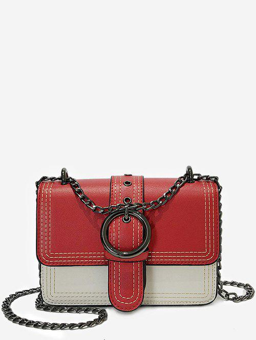 Hot Contrasting Color Chain Flapped Buckled Crossbody Bag