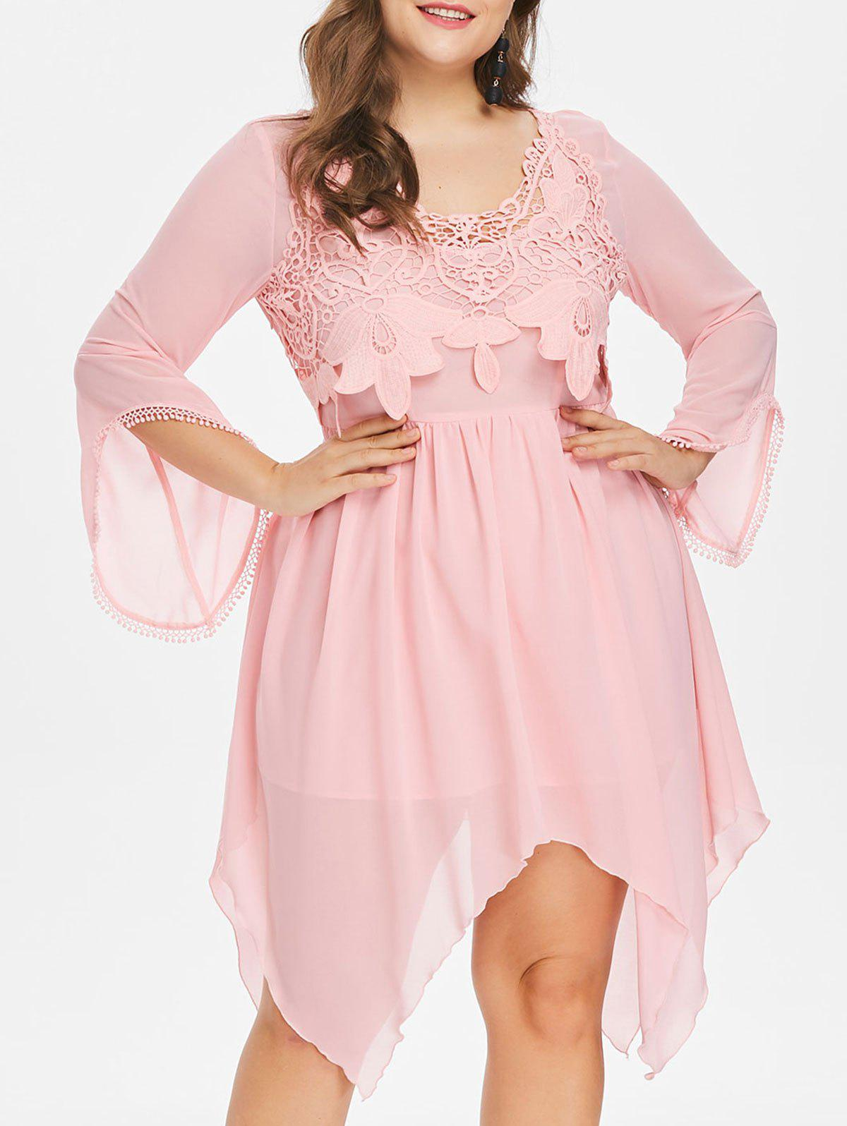 50% OFF] Plus Size Flared Long Sleeve Handkerchief Dress | Rosegal