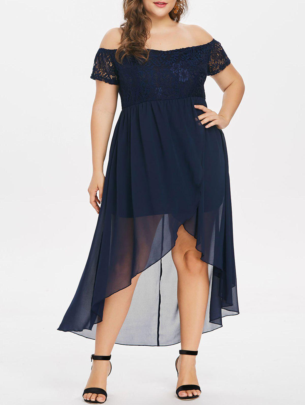 Fancy Front Slit Lace Insert Plus Size High Low Dress